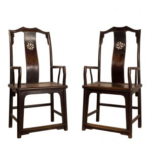 Pair of armchairs, China, Shanxi, 19 century, Qing dynasty, Elm wood, Lacquer,Southern s official hat style, Antic, Oriental