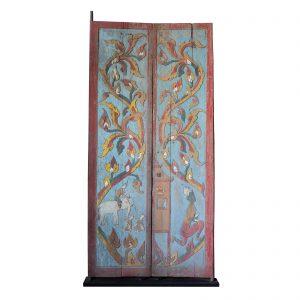 Paire de portes, Thailande du nord, Temple, Bois dur, Sculpte, Peinte, Deitees, 19 siecle, Asie