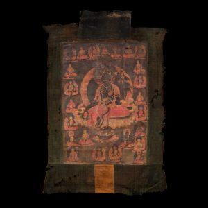 Thangka, gouache, Tibet, ancien, 18 siecle, Tara noire, Bodhisattva, art oriental, Boudhha, peinture