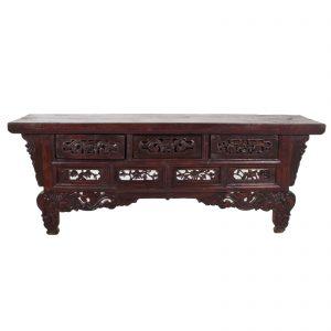 Tabel d autel, Chine, antique, bois lacque, oriental, dynsatie Qing, 19 siecle, ancetre, priere, boudhiste
