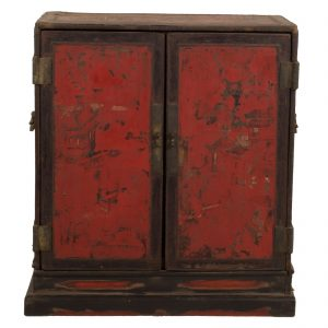 Buddha chest, China, Shanxi, antic, oriental, red lacquer, painting, late Ming, 18 century, wood, furniture