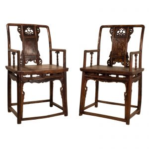Paire fauteuils, Southern official's hat, Chine, Shanxi, antique, Ming , orme lacque, mobilier oriental