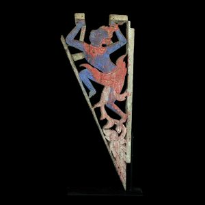 Temple bracket, antique, north Thailand, Lanna, lacquered and polycromed teak wood, 19 century, oriental art, monkey, Hanuman