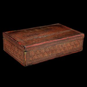 Lacquer rectangular box, antique, Myanmar, Burma, 19 century, incised lacquer on bamboo, oriental art, south east asia