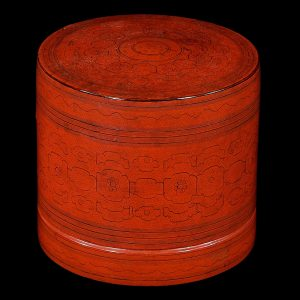 Boite a betel, Birmanie, Myanmar, antique,debut 20 siecle, lacque orange sur du bambou, art decoratif oriental