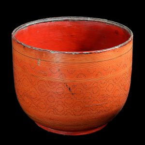 Lacquer bowl, kwet, antique, Burma, Myanmar, early 20 century, incised lacquer on bamboo, oriental art, south east asia