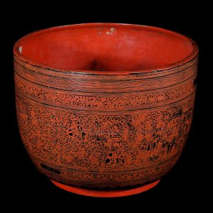 Lacquer bowl, kwet, antique, Burma, Myanmar, 19 century,, lacquer on bamboo, decorative oriental art, south east asia