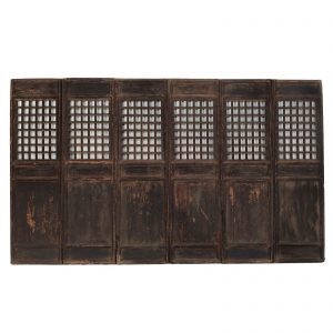 Set of 6 window panels, antique, China, Shanxi, 18 century, late Ming dynasty, lacquered wood