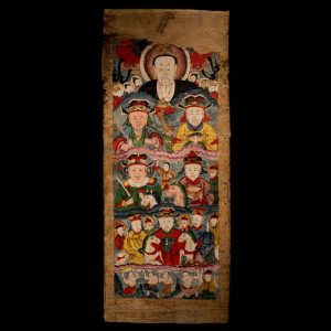 Yao ceremonial painting, antique, ancestral painting, mulberry paper, gouache, Southern China, 19 century, Lan tien yao, tribal art