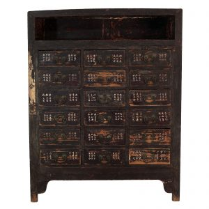 Medicine chest, apothecary cabinet, antique, oriental furniture, China, Shanxi, 19 century, lacquer on elm wood