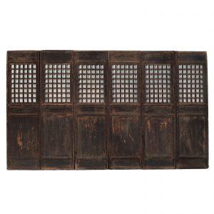 Set de 6 fenetres, antique, Chine, Shanxi, 18 siecle, dynastie Ming, bois lacque