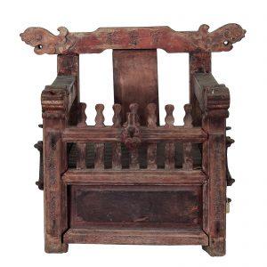 Chaise porteuse de statue, Buddha ou deitee, antique, Birmanie, Chine, 19 siecle, bois de teck polycrome