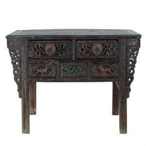 Console, antique, Chine, shanxi, mobilier oriental, polycromie et lacque sur du bois d orme, 18/19 siecle