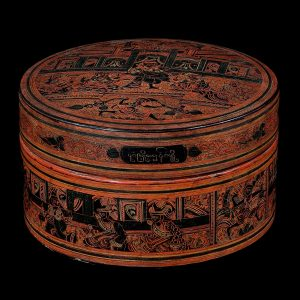 Snack box, antique, Burma, Myanmar, incised lacquer on bamboo, early 20 century, lacquer box, antique