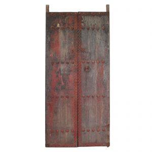 Paire de portes, antique, Chine, Shanxi, 19 siecle, bois d orme polycrome