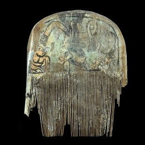 Comb, antique, China, Shanxi, painted soft wood, Han dynasty, excavated piece, archeology