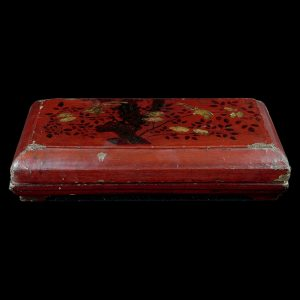 Lacquer box, antique, China, painted lacquer on wood, 19 century, oriental art