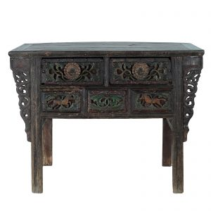Antique, coffer, chest of drawers, China, Shanxi, 18/19 century, polycromed and lacquered elm wood, carved drawers, oriental furniture
