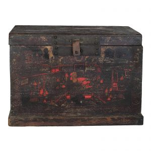 Chest, trunk, coffer, antique, China, Shanxi province, 17 century, late Ming dynasty, painting on black lacquer, pine wood, oriental furniture