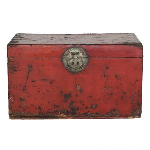 Chest, trunk, coffer, antique, China, Shanxi province, 18 century, mid Qing dynasty, red lacquer on leather, pine wood, oriental furniture