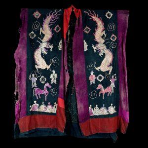 Robe de chaman Yao, tribu Yao, sud de la chine, Yunna, Hunan, broderie en soie sur du coton, debut 20 siécle, art primitif, textile