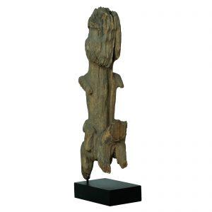 Fragment d 'un poteau funéraire Chin, antique, Birmanie, Myanmar, 19 siècle, bois de teck érodé, art primitif et tribal asiatique, minorité Chin